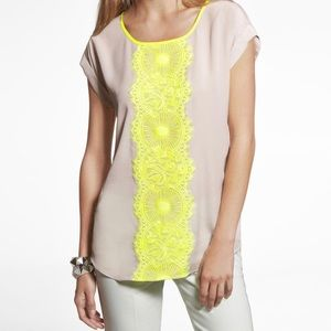 Express women's neon yellow lace blouse